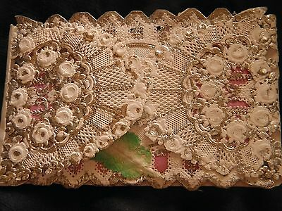 Antique Victorian Die cut silver  Paper lace  padded fold out birthday card,