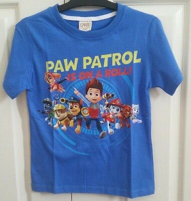 BNWT-Boys Paw Patrol Is On A Roll Blue Ryder T-Shirts Many Sizes.
