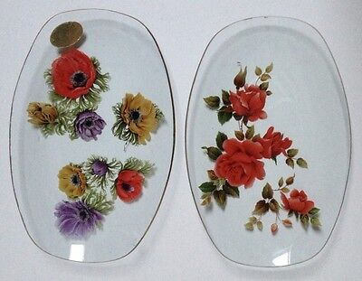 Two Retro Chance Glass Dish Plates Roses & Peonies Gold Rim