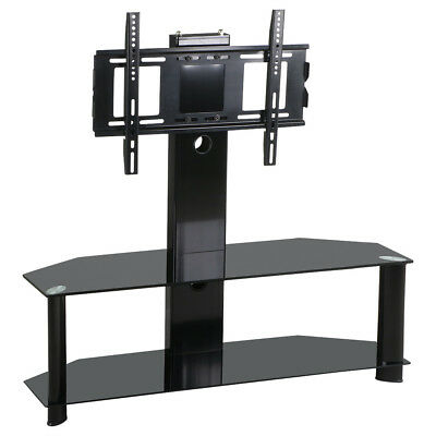Black Tempered Glass TV Stand with Bracket Cantilever for 37-60'' Plasma LCD LED