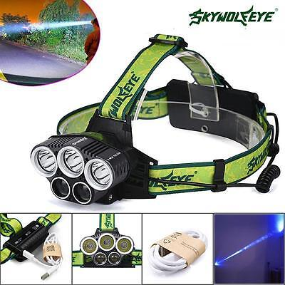 40000LM 5X XML T6 LED Rechargeable 18650 USB Headlamp Headlight Head Torch PK