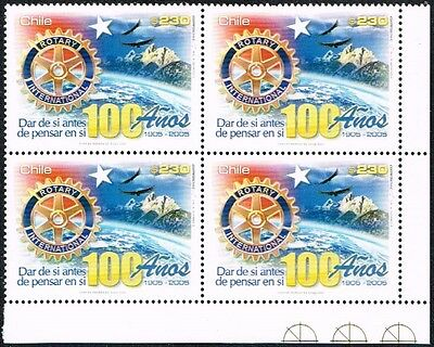 Chile 2005 Stamp # 2154 Mnh Block Of Four Rotary Corner Of Sheet