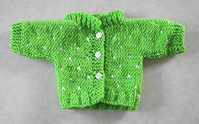 """Handmade Knit Cabbage Patch Spring Green Cardigan Sweater Doll 14"""" - 16"""""""