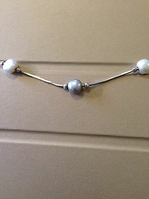 Sterling Silver & Freshwater Pearl Bracelet 925 Quality Box Chain