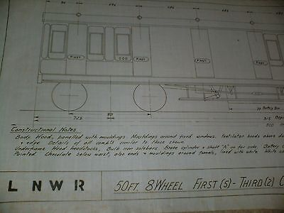 London & North Western Railway First & Third Class Coach Drawing Edwards Bros