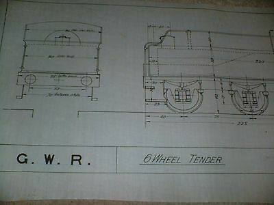 Great Western Railway Six Wheel Tender Drawing Edwards Bros