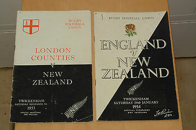 Rugby union programmes England v New Zealand 1954  ticket + London counties 1953