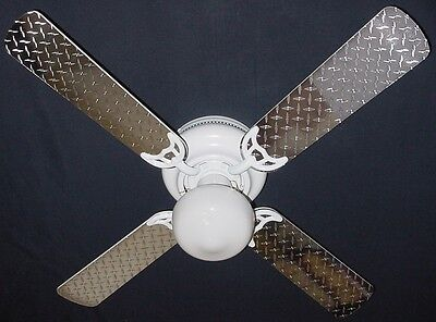 New DIAMOND PLATE SILVER GARAGE MOTORCYCLE TRUCK Ceiling Fan 42""