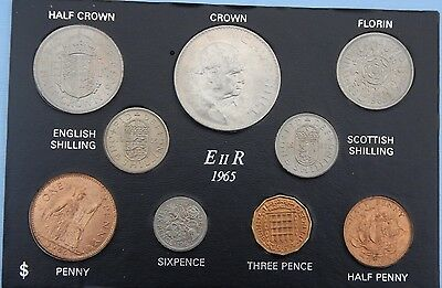 1965 Set of all Issued coins Halfpenny to Crown on Card