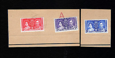 GILBERT & ELLICE: 1937 Coronation set of 3 ~ 1st Day Cancellation on Piece