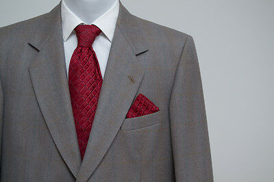 Mens Magee Vintage Suit Jacket 42 In Trousers W31/w32 100 % Wool Grey Checked