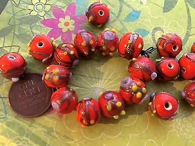 Vintage 9 x 11mm Orange Lampwork Glass Wedding Cake Beads 12