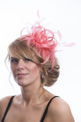 Coral Pink Sinamay Wedding Feather Fascinator Hat Ready made/send same day