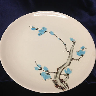 "Red Wing Pottery Driftwood Dinner Plate 11"" Blue Flowers Textured"