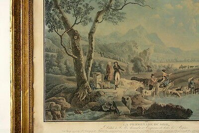 Jean-Louis DEMARNE (1752-1829) Morgenspaziergang & Abendspaziergang 2x Aquatinta