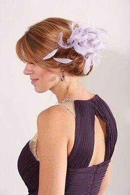 Small Lilac Sinamay Wedding Feather Fascinator Hat Ready made/send same day