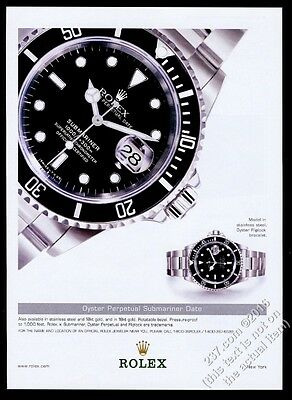 2002 Rolex Submariner Date watch color photo vintage print ad