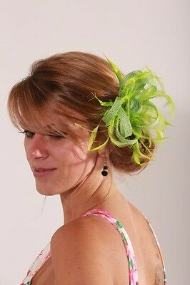 Apple Lime Green Sinamay Wedding Feather Fascinator Hat Ready made/send same day