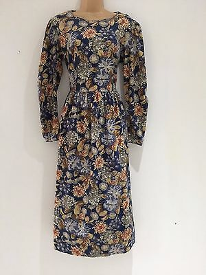 Vintage 80's Laura Ashley Corduroy Blue Beige Floral Pleated Winter Dress 12-14