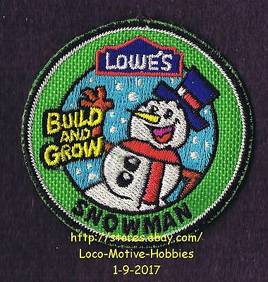 LMH PATCH Badge  SNOWMAN  Winter Snow Man  Build Grow LOWES Kid's Workshop green