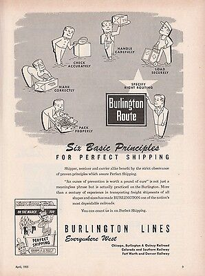 1955 Burlington CB&Q Railroad Ad: Six Basic Principles for Perfect Shipping