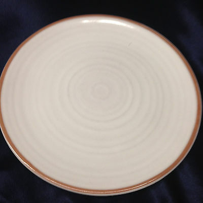 "Frankoma Mountain Air White Dinner Plate 10 3/8"" Grooves White With Tan Rim"