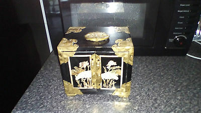 Chinese Wooden jewellery Box With Brass Hardware Oriental Design