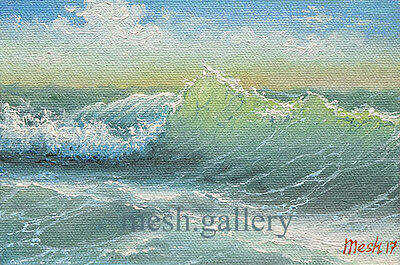 MESH ORIGINAL OIL PAINTING Modern Fine Art SEASCAPE Pacific Ocean Sea Surf