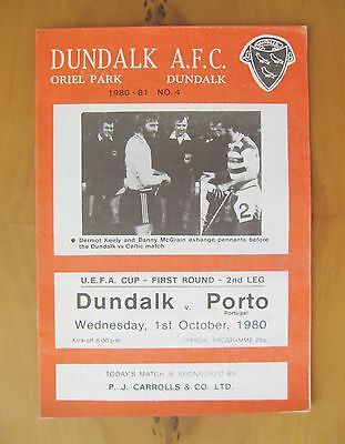 DUNDALK v PORTO UEFA Cup 1980/1981 *Excellent Condition Football Programme*