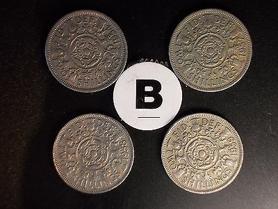 QEII : Set of 4 Scarce Key Date Florins Dated 1954-1957-1958-1959 (B) 2 Pics