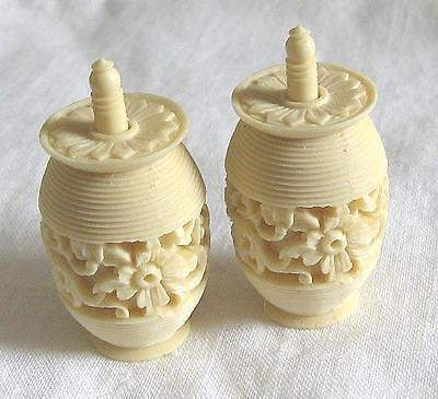 Carved Chinese cotton barrels, sewing boxes, floral decorative, resin