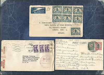 South Africa Ph,fine Lot Of 3 Covers&card,reg,censure,cancel,1927-44