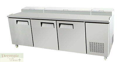"""PIZZA SALAD SANDWICH PREP TABLE 93"""" L REFRIGERATED 3 Door Stainless Steel New"""