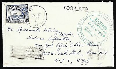 British Guiana Cover Solo 8c Stamp Skeldon to USA, Too Late Marking 1958