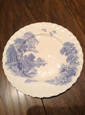 Grindley Pottery Plate. Meadow Brook. Blue & White.