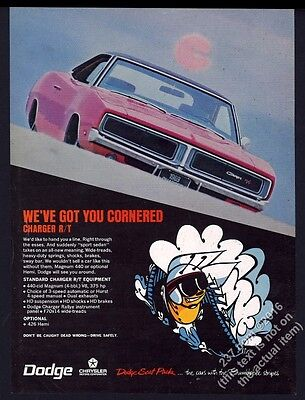 1969 Dodge Charger R/T RT red car color photo vintage print ad