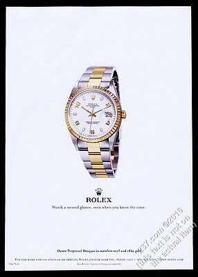 2003 Rolex Oyster Perpetual Date watch color photo vintage print ad