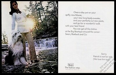 1969 Old English Sheepdog and woman photo Sears fashions vintage print ad