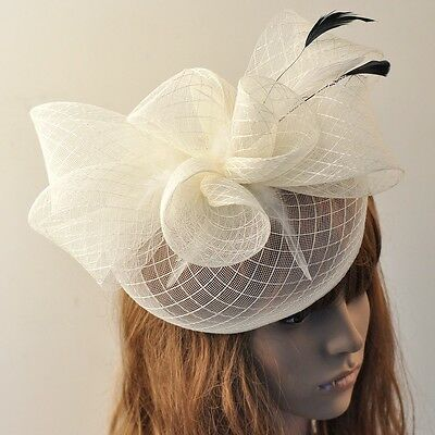 Handmade Ivory Hair Clip Women Party Wedding Net Accessories Fascinator Feather