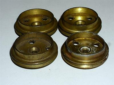 VINTAGE LOT OF EARLY MECCANO BRASS FLANGED & GROOVED WHEELS x 4 (20) c1912!!