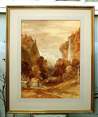 Superb Large Early C19th Victorian English School Watercolour - Staubbach Falls