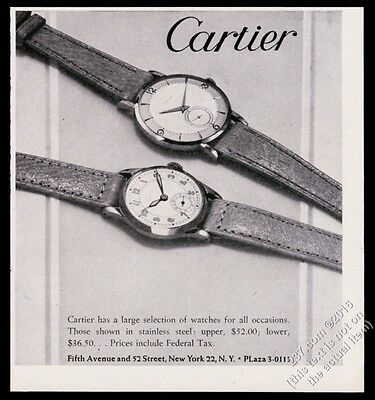 1947 Cartier man's watch 2 styles photo vintage print ad