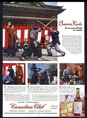 1955 Kendo match Japan photo Canadian Club whisky vintage print ad
