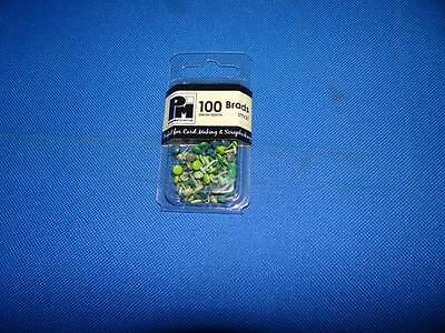 1 Packet Of Papermania Small Brads *Round Greens* New
