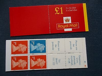 Fh44 £1 Machin Gb Folded Stamp Booklet 3 First Class Nvi Cylinder Postcode