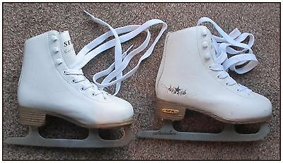 Sfr Gold Edition Skates, Size Uk13 (Junior). White. Coated Leather Uppers.