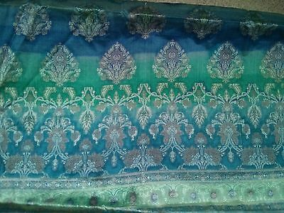 Sari Saree Material Party Wear Bollywood Blue Unstitched Green Gold Indian Asian