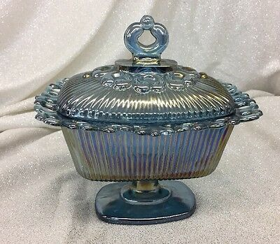 Nice Indiana Glass Lace Edge Blue Carnival Oblong Candy Dish Compote With Lid
