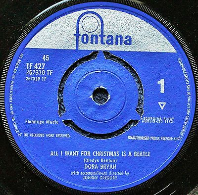 """Dora Bryan All I Want For Christmas Is A Beatle  pop comedy 1960s 7 """" INCH 45RPM"""