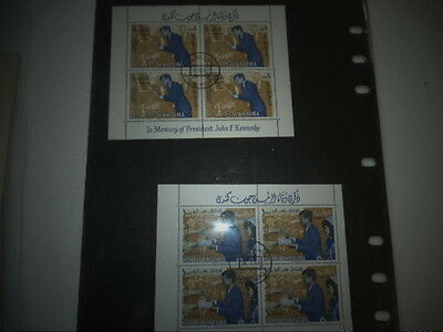 Three sheets of postage stamps on the death of John Kennedy
